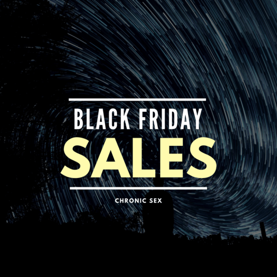 """starry sky with white and yellow text """"Black Friday Sales"""" and """"Chronic Sex"""""""