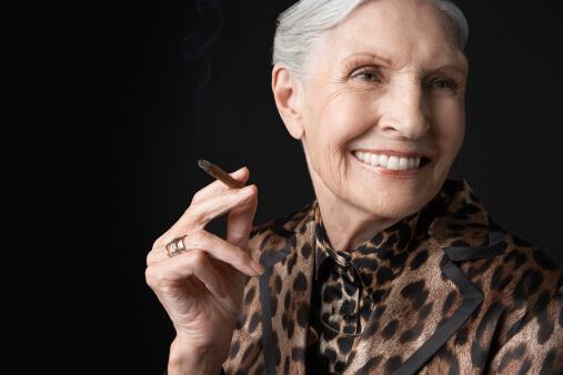 senior woman smoking marijuana