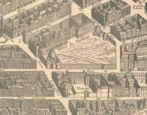 Détail du plan de Turgot - L'hotel de Soissons et la rue Coquillière