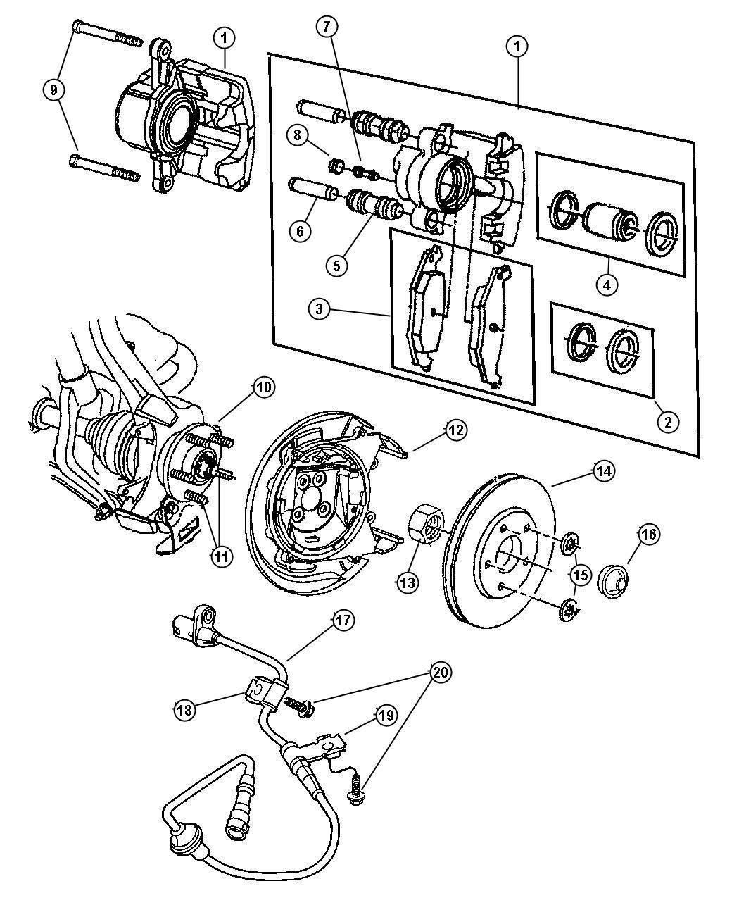 Chrysler Sebring Caliper Disc Brake Wheel Brakes