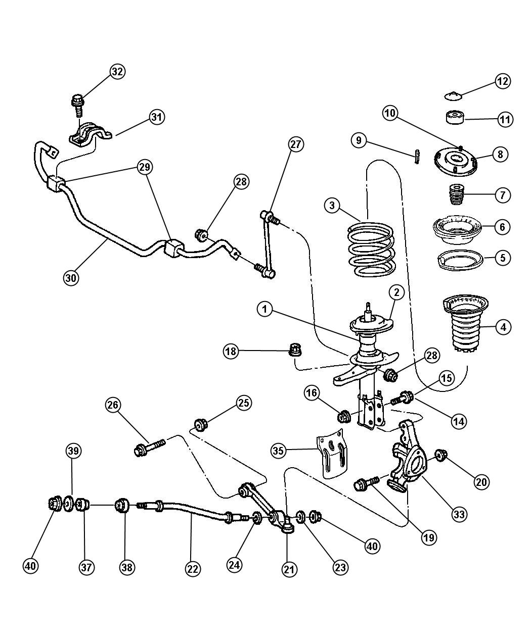 Chrysler 300 Nut Mounting Upper Upper Control Arm Hex