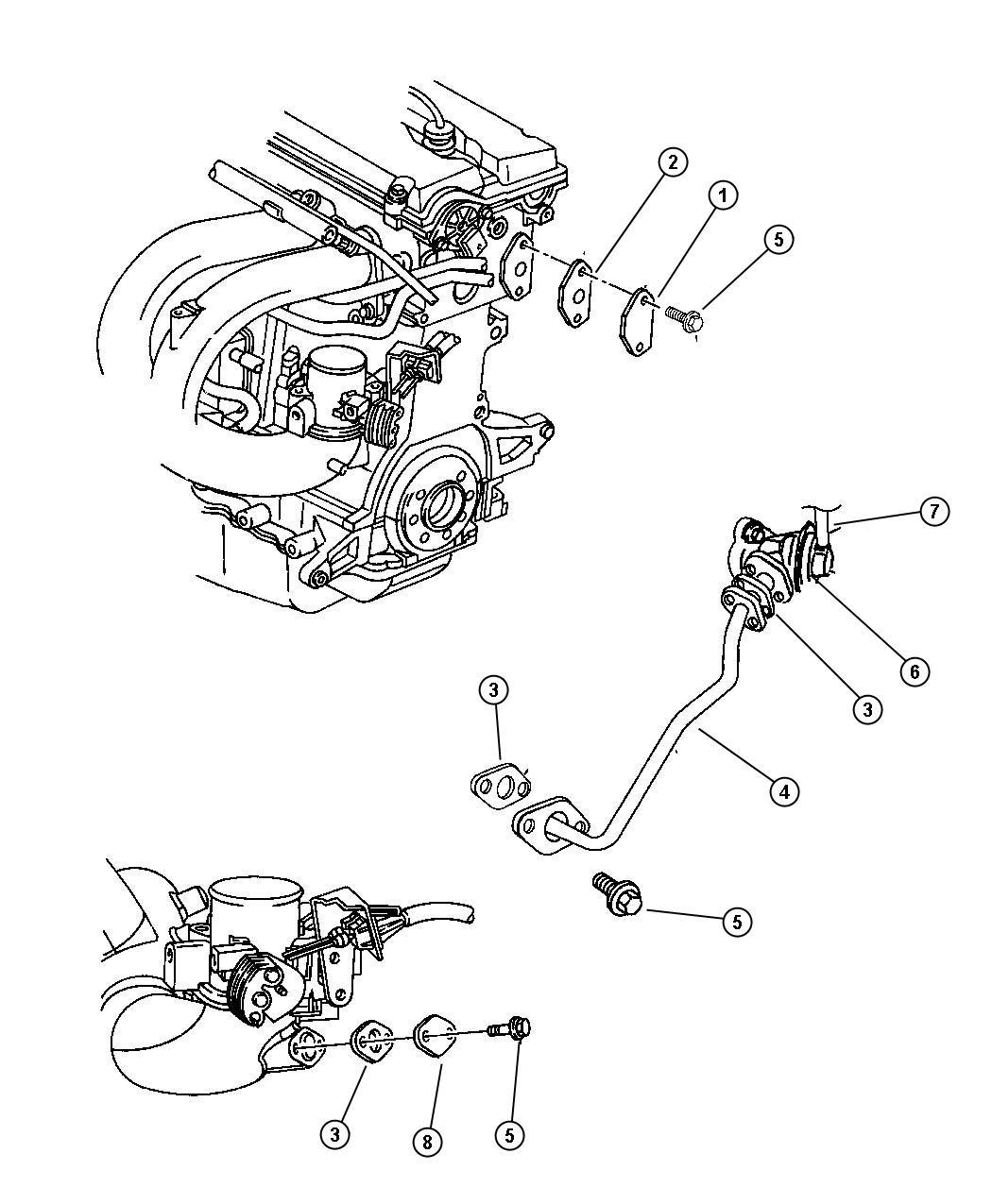 Chrysler Sebring Gasket Egr Tube Flange Engine