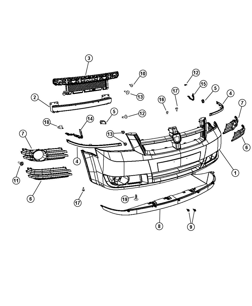 Chrysler Town Amp Country Reinforcement Front Bumper