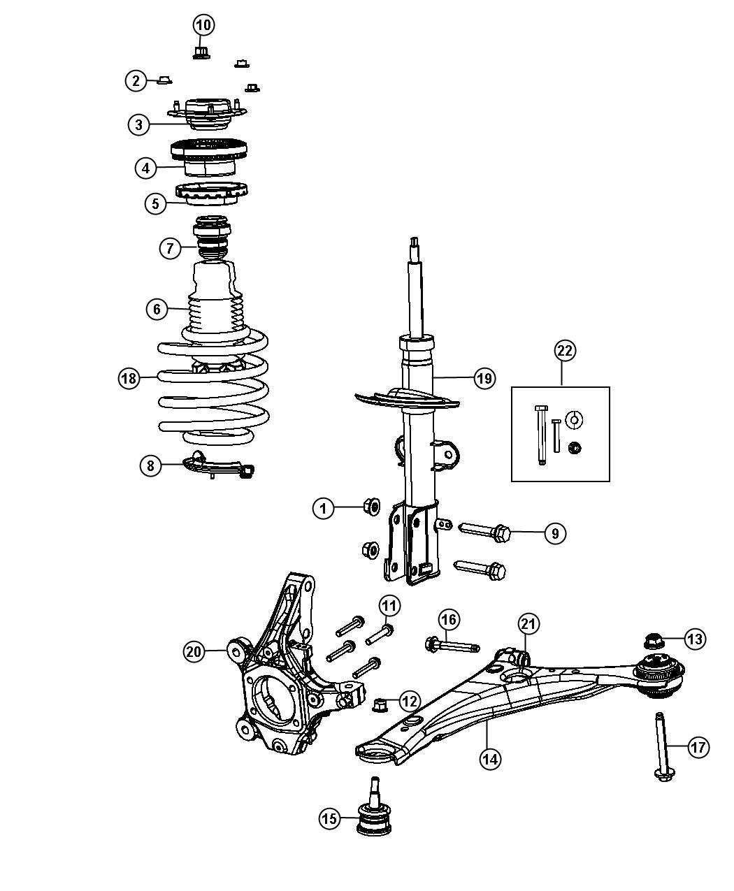 Chrysler Town Amp Country Bolt Strut To Knuckle Serrated M14x2 00x77 0 Strut To Knuckle