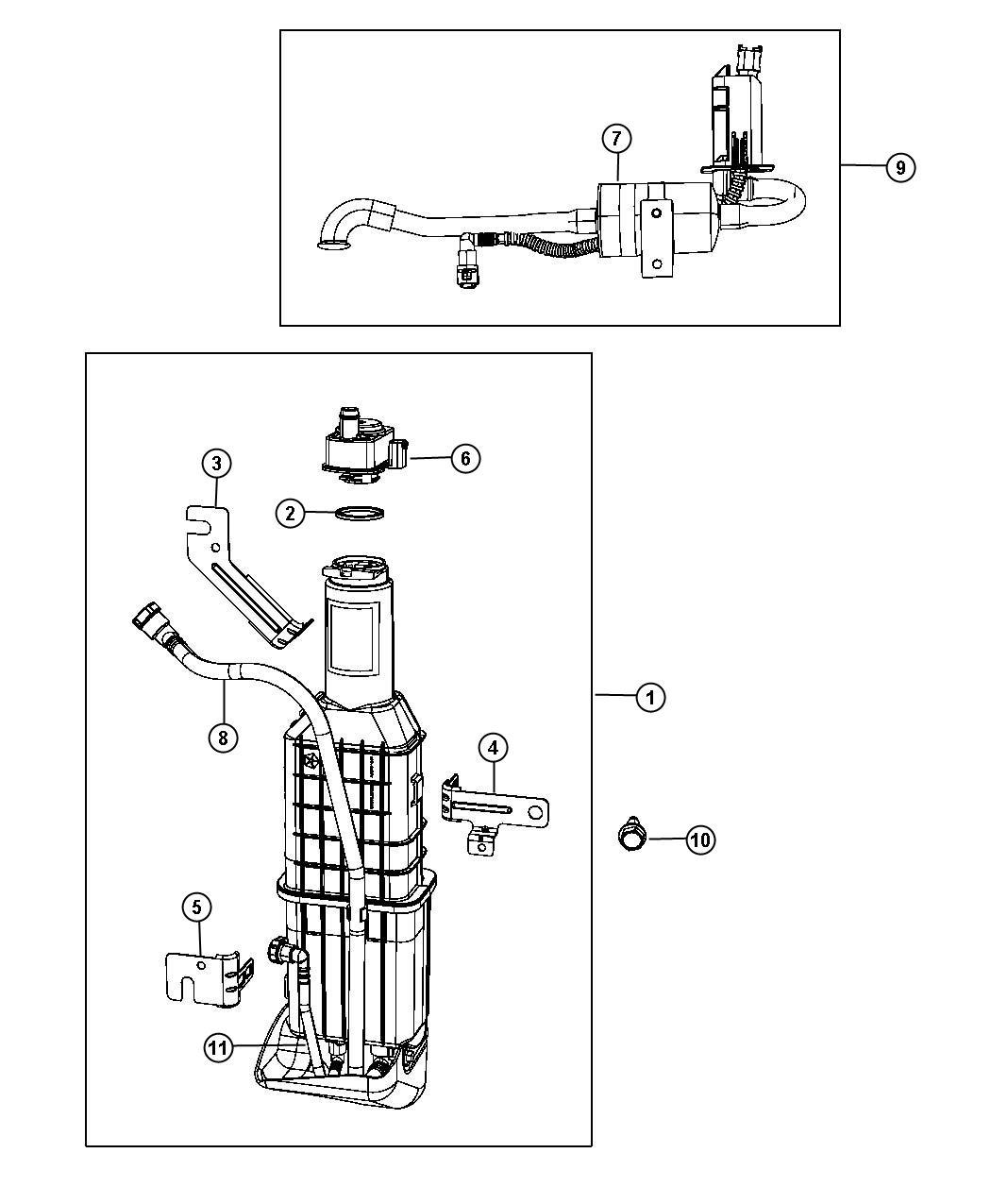 Chrysler Sebring Filter Fuel Vapor Vent Canister Leak Pump