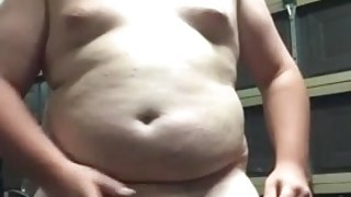 Cute smooth young gay chub Dylan strokes himself in garage