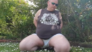 Fat man has more fun in the garden