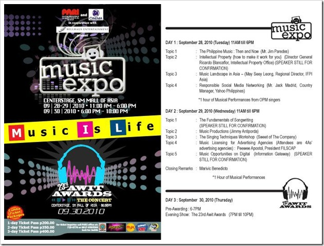 1st Music Expo & 23rd Awit Awards, Sept. 28 to 30, 2010
