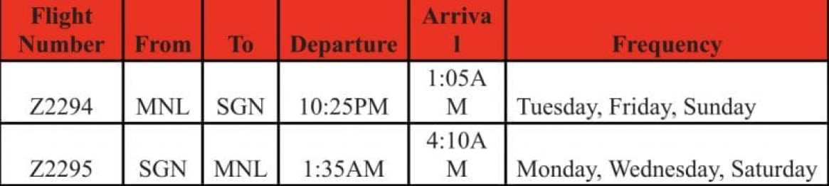 AirAsia Manila Ho Chi Minh City (Saigon) travel sked