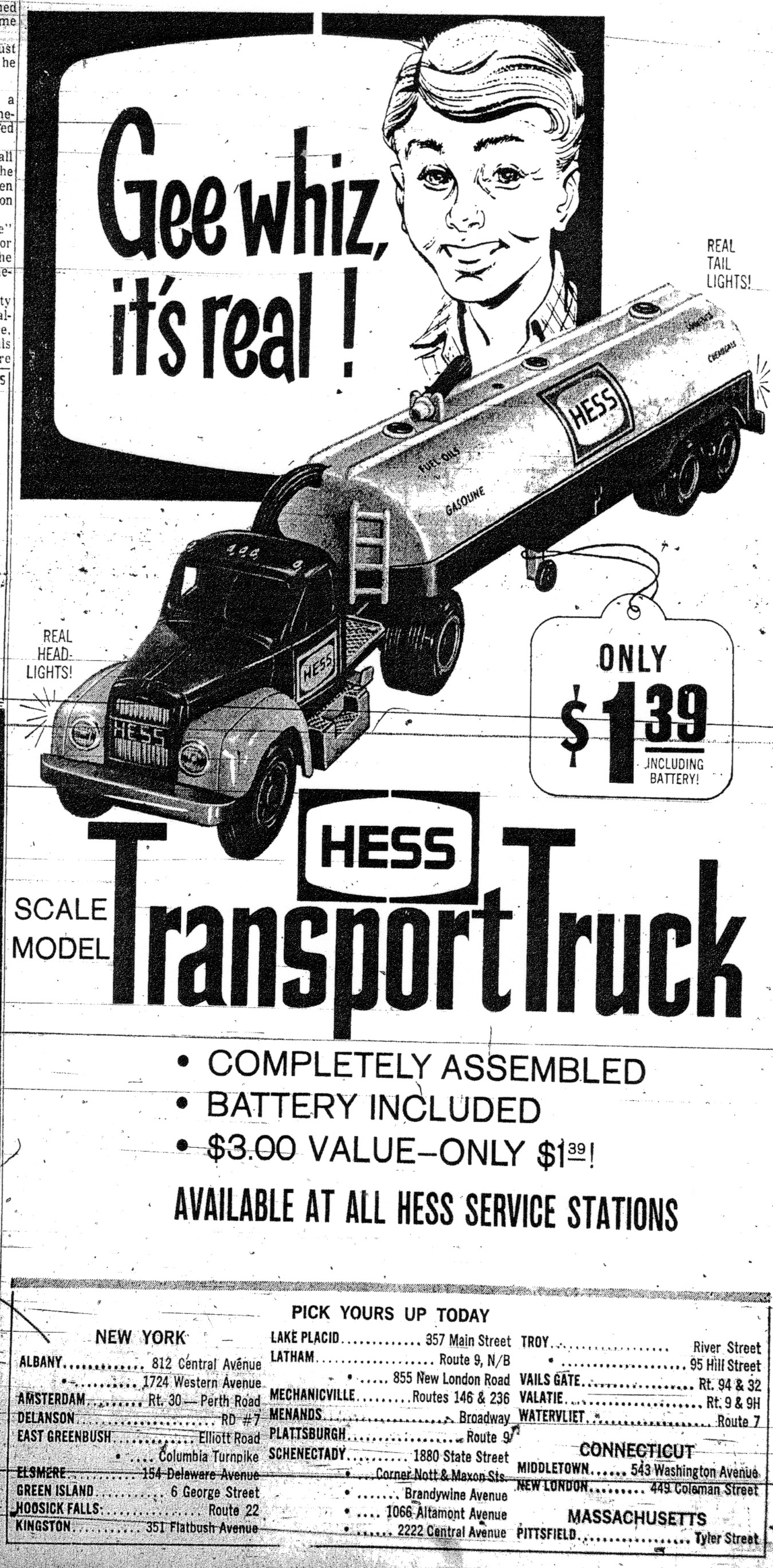 Hess Toy Truck advertisement from 1964.