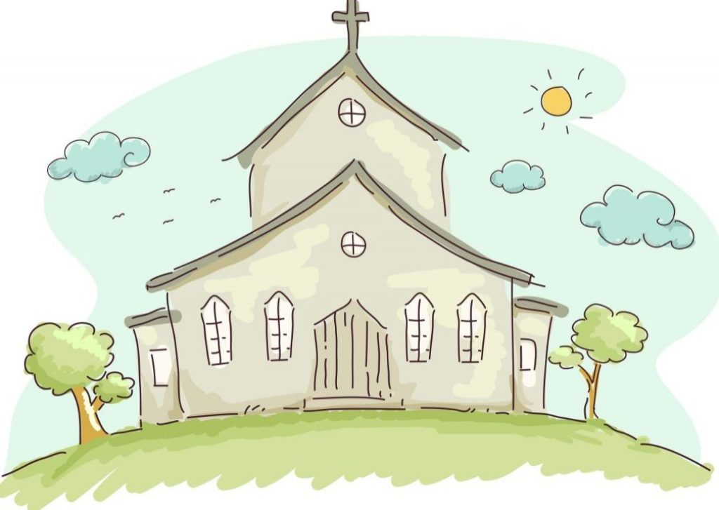 Doodle Illustration of the Facade of a Church