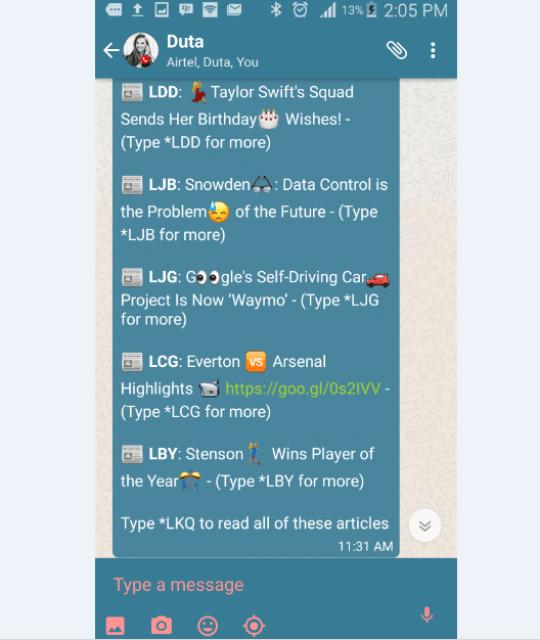 Duta WhatsApp football updates