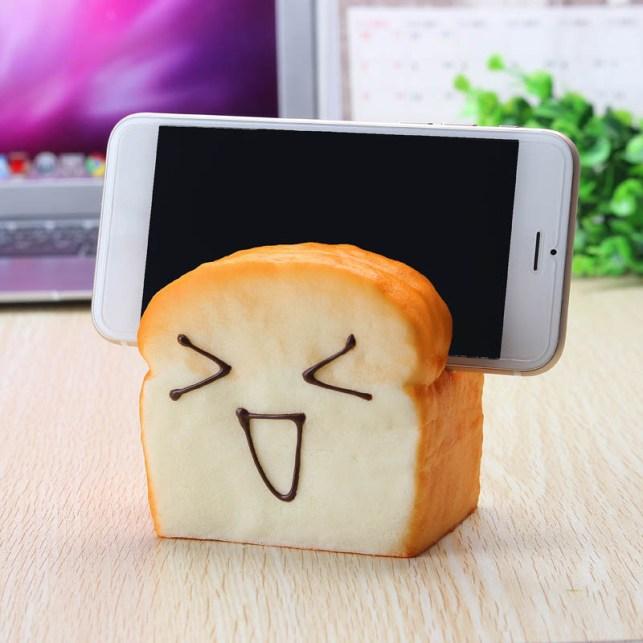 Squishy Slice Toast Mobile Phone Seat Holder
