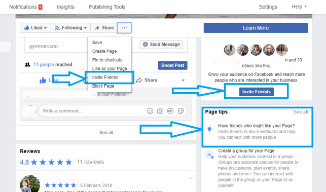 invite all your Facebook friends to like your page