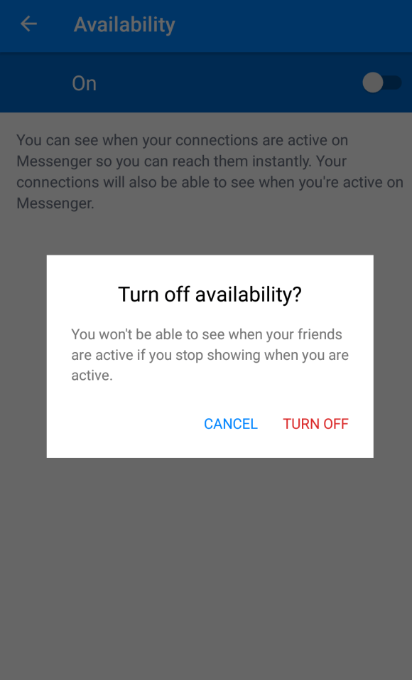 Turn off active now messenger