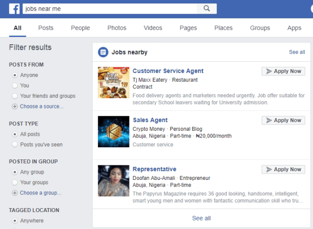Find and apply jobs on Facebook