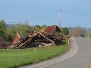 Old barn demolished along Rt 12-B