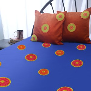 Blue Crochet work Bed Cover with Cushion Covers