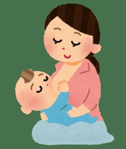 授乳中のお母さんと赤ちゃん