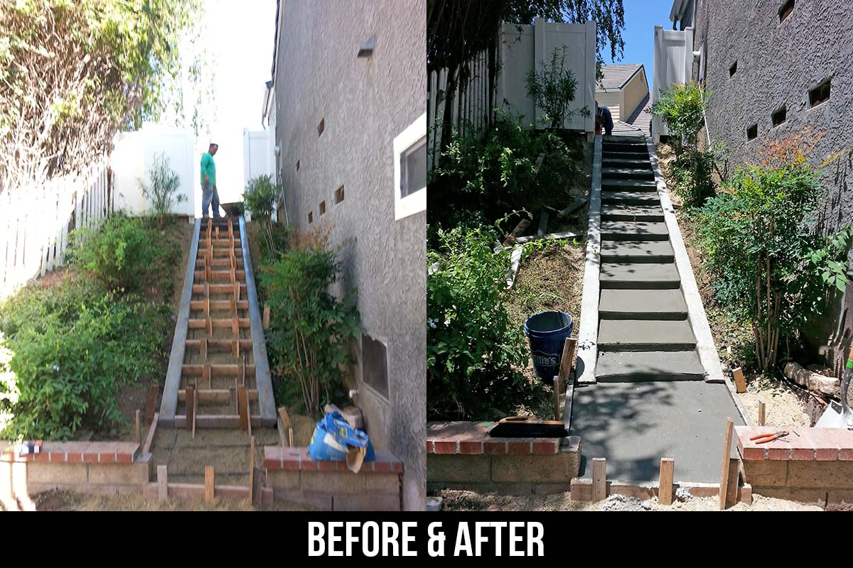 custom concrete stairs by churape landscape in simi valley ca