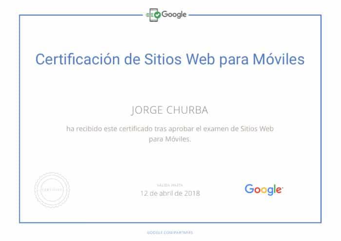 Certificación web móvil de Google