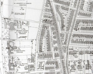 Moor Edge properties, Newcastle High School and Tankerville Terrace, 1895 (www.alangodfreymaps.co.uk)