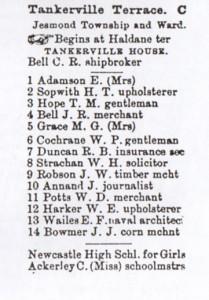 Extract from 'Ward's Directory of Newcastle 1893-4' courtesy of Alan Godfrey Maps, Jesmond 1895 (www.alangodfreymaps.co.uk)