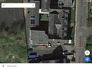 Google Maps image 2014 of Church High main building; the lozenge-shaped area denotes the site of the dismantled bell tower.