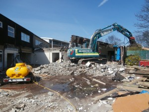 Day 3 of the Junior School demolition: the Junior Hall in the process of being dismantled.