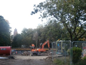 Excavation work well underway on the new build foundations.