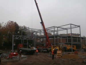 It is just possible to see the variation in height of the steel structure developing.