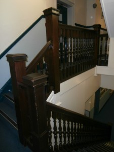 The now demolished wooden staircase.