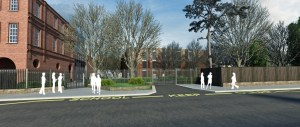Architect's visualisation of the new pupils' entrance of NHSG new build.