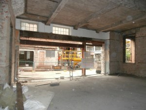 Looking from the old Dining Hall out towards the new extension.