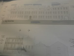 Elevations of the old building show position of new stairs.