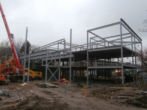 The new build's steel structure grows apace.