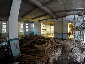 The old ceiling has now been removed in the Large Dining Hall.