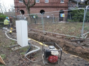 ... as everyone is focussed on connecting up the new building to the gas and water mains.