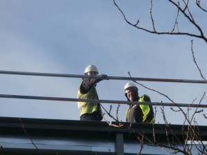 Up on the roof and within the new build ...