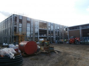 The north-facing side of the new-build now has glass!