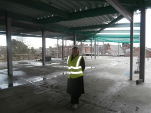 Me on the top level of the new build with Church High behind.