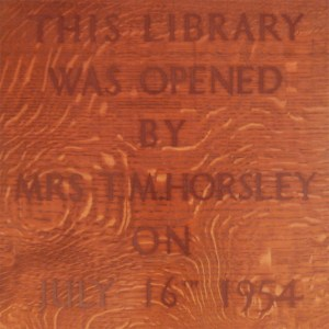 Commemorative plaque for the opening of the Library extension.