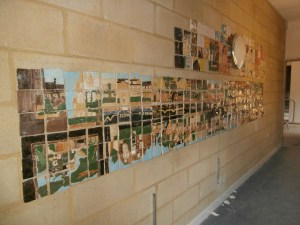 The tiled collage of Tankerville Terrace which brightened up the Barbour Wing stairs.