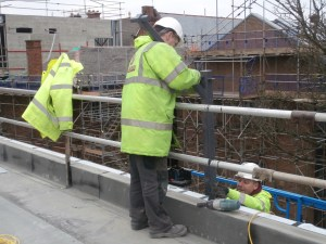Work also underway on the railings in the south east corner.