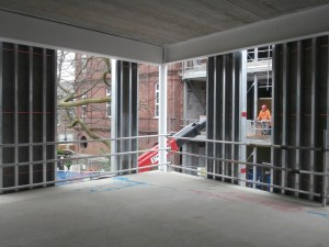 The staffroom will now be on the first floor of the new building, rather fittingly facing the old one.