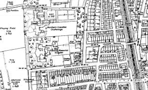 The 1940s map shows a section of land behind the Fleming Memorial Hospital has now become two tennis courts.