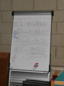 The flipchart showing the very last exam.