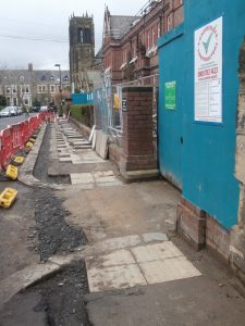 The paving stones will soon be re-laid.