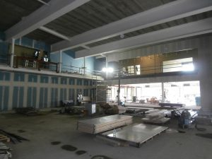 Looking diagonally south-east across the double-level Main Hall area. Beyond it lies the single level Dining Area and above left the AV Booth.