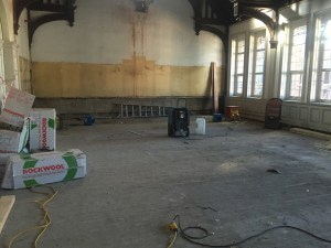 A dehumidifying unit and heavy-duty fan to move the air around in action at both ends of the Hall.